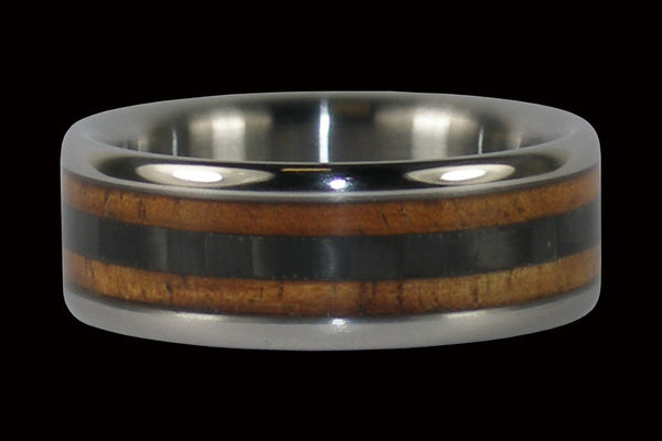 Hawaiian Koa Wood and Black Carbon Fiber Hawaii Titanium Ring®