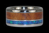 Black Opal and Dark Koa Wood Titanium Ring - Hawaii Titanium Rings  - 6