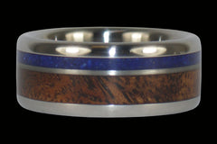 Blue Lapis and Curly Koa Titanium Ring - Hawaii Titanium Rings
