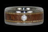 Diamond and Wood Titanium Wedding Ring Set - Hawaii Titanium Rings  - 6