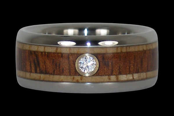 Diamond and Contrasting Wood Hawaii Titanium Ring®