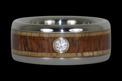 Diamond and Wood Titanium Ring - Hawaii Titanium Rings  - 1