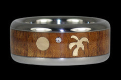 Diamond Oasis Titanium Wood Diamond Ring - Hawaii Titanium Rings  - 1