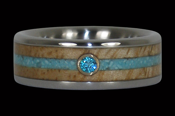 Blue Diamond and Turquoise Titanium Ring