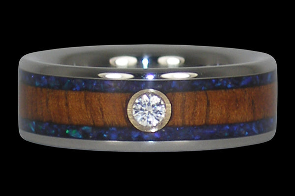 Diamond Koa and Opal Titanium Ring