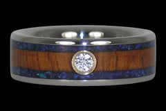 Diamond Koa and Opal Titanium Ring - Hawaii Titanium Rings  - 1