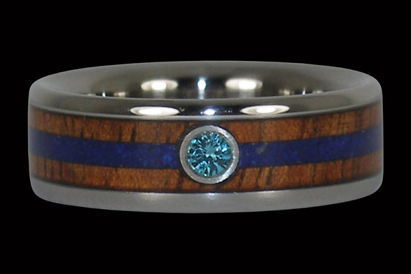 Blue Diamond Titanium Ring with Wood and Stone Inlay