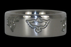 Dove Engraved Titanium Ring - Hawaii Titanium Rings  - 1