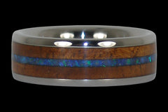 Rare Opal and Koa Wood Inlay Titanium Ring - Hawaii Titanium Rings  - 1