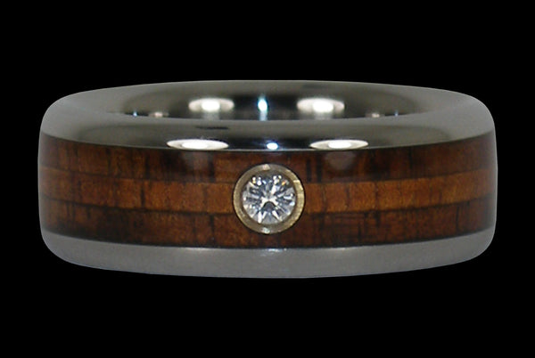 Diamond Hawaii Titanium Ring® with Two Koa Woods