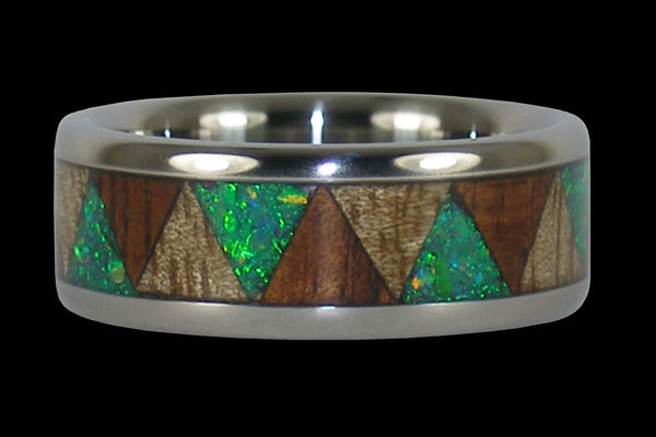 Tribal Hawaii Titanium Ring with Green Opal Koa and Mango Wood
