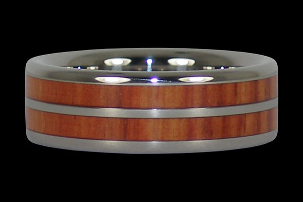 Tulip Wood Titanium Ring Band