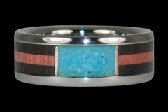 Turquoise and Wood Inlay Titanium Ring - Hawaii Titanium Rings  - 1