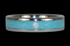 Turquoise Diamond Ring - Hawaii Titanium Rings  - 1
