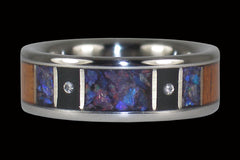 Two Diamond Titanium Ring with Exotic Wood Inlay - Hawaii Titanium Rings