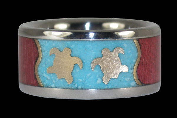 Swimming Turtles Hawaii Titanium Ring® Band