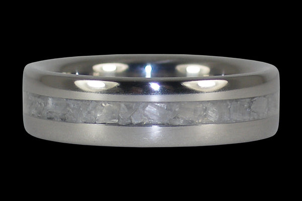 White Ulexite Titanium Ring Band