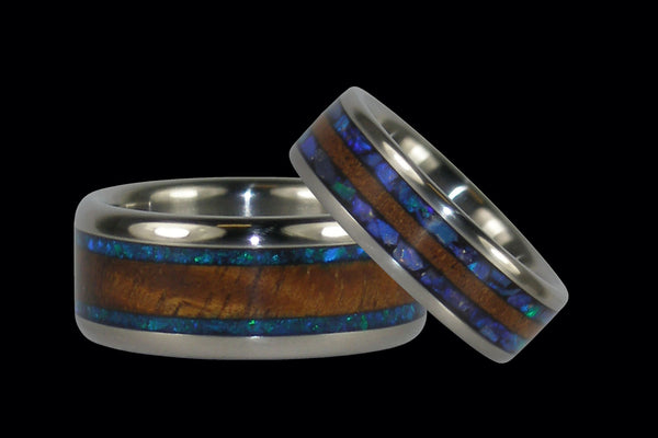Black Opal and Koa Wood Ring Set