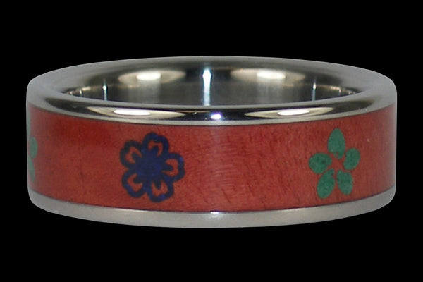 Titanium Wood Ring Engraved with Hawaiian Flowers