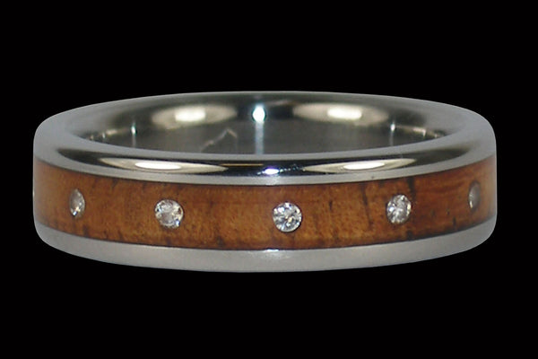Diamond Koa Wood Titanium Ring Band