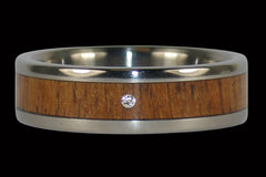Diamond Koa Wood Titanium Rings - Hawaii Titanium Rings  - 1