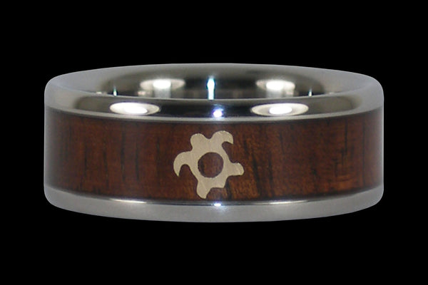 Gold Turtle Koa Wood Titanium Ring