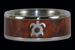 Amboina Titanium Ring with Gold Turtle - Hawaii Titanium Rings - 1
