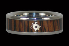 Gold Turtle Palm Wood Titanium Ring - Hawaii Titanium Rings