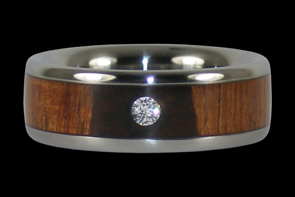 Diamond Koa Wood Titanium Wedding Band