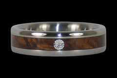 Curly Koa Diamond Ring - Hawaii Titanium Rings