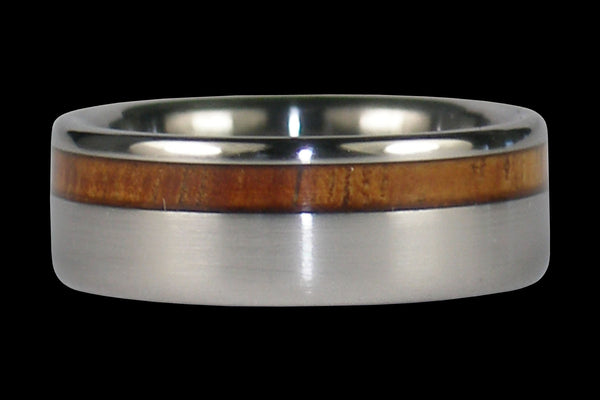 Hawaiian Koa Wood Inlay Titanium Ring