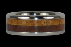 Titanium Ring Band with Koa Wood Inlays - Hawaii Titanium Rings