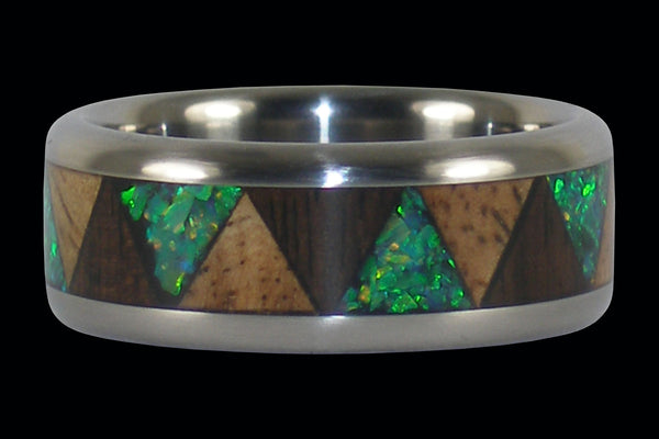 Exotic Wood and Stone Drum Titanium Ring