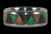 Exotic Wood and Stone Drum Titanium Ring - Hawaii Titanium Rings