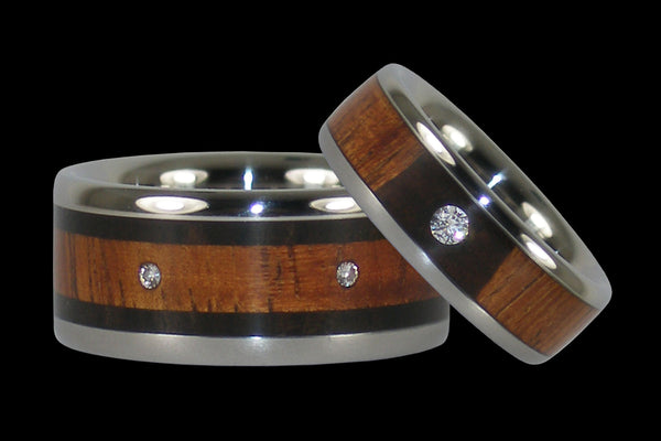 Koa and Blackwood Titanium Wedding Rings From Hawaii Titanium Rings®