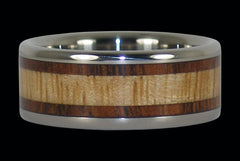 Hawaiian Koa and Mango Wood Inlay Titanium Ring - Hawaii Titanium Rings  - 1