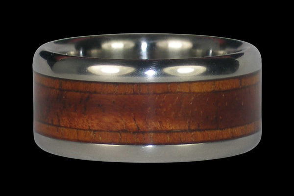 Titanium Ring Band with Koa Wood Inlays