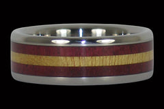 TITANIUM RING WITH CONTRASTING PURPLE AND YELLOW WOOD