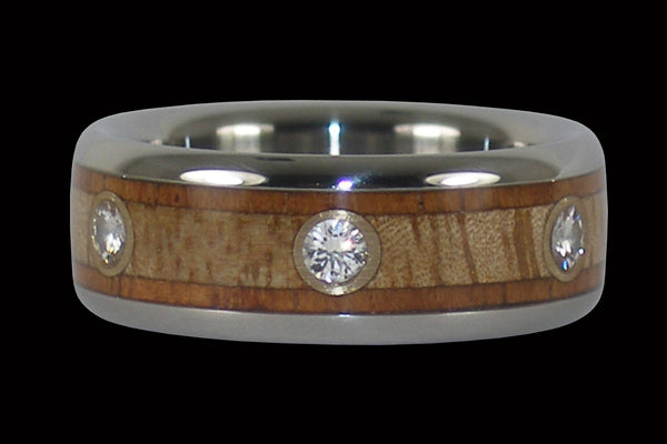 Six Diamond Titanium Ring