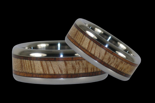 Mango and Koa Wood Titanium Rings