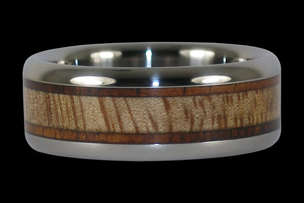 Tiger Koa and Mango Wood Titanium Ring