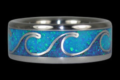 Wave Ring for a Beach Wedding with Blue Lab Opal and Silver - Hawaii Titanium Rings