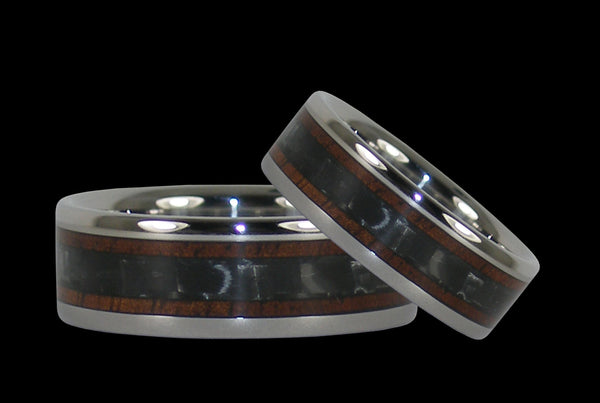 Black Carbon Fiber and Wood Titanium Rings