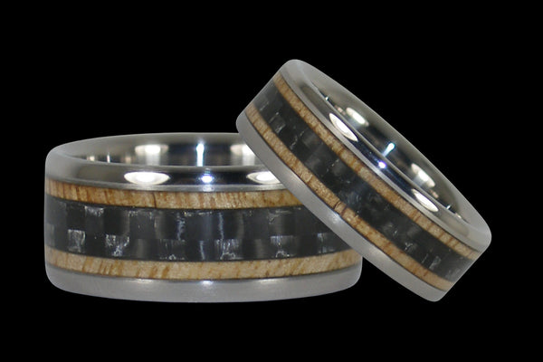 Black Carbon Fiber and Wood Titanium Ring Set