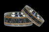 Black Carbon Fiber and Wood Titanium Ring Set - Hawaii Titanium Rings  - 1