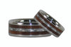 White Carbon Fiber and Dark Koa Titanium Ring Set - Hawaii Titanium Rings  - 4