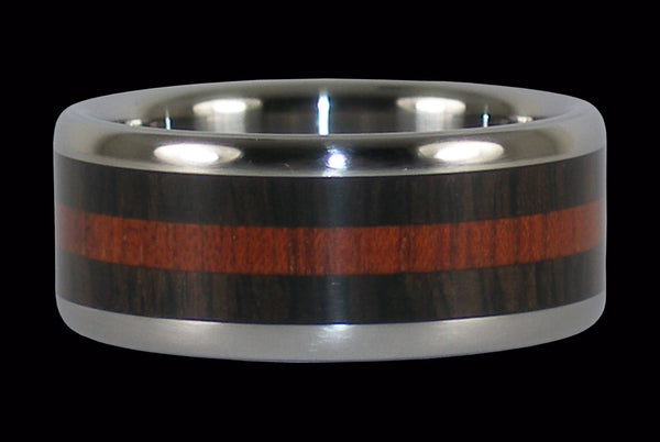 Wenge and Blood Wood Titanium Ring