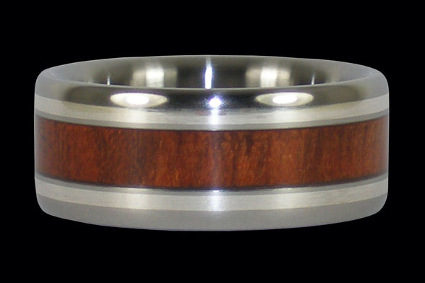Blood Wood and Sterling Silver Hawaii Titanium Ring® Band