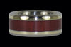 Purpleheart Wood Titanium Ring Set with Green Gold - Hawaii Titanium Rings  - 3