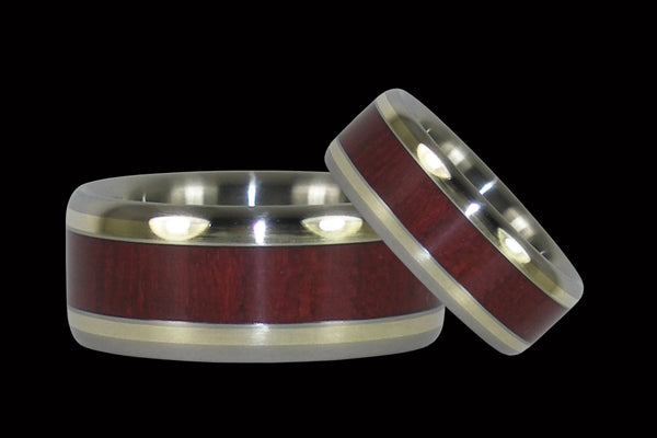 Purpleheart Wood Titanium Ring Set with Green Gold